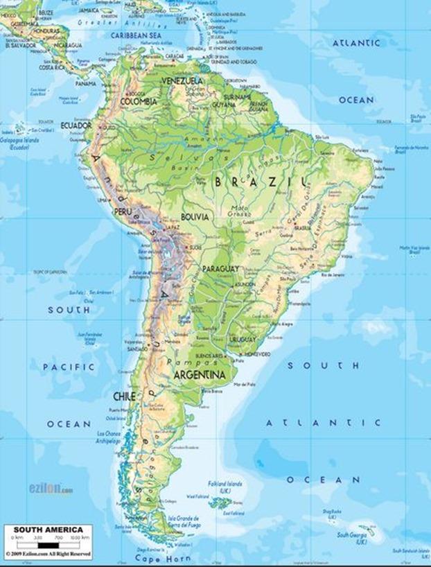 Mapa físico de América del sur