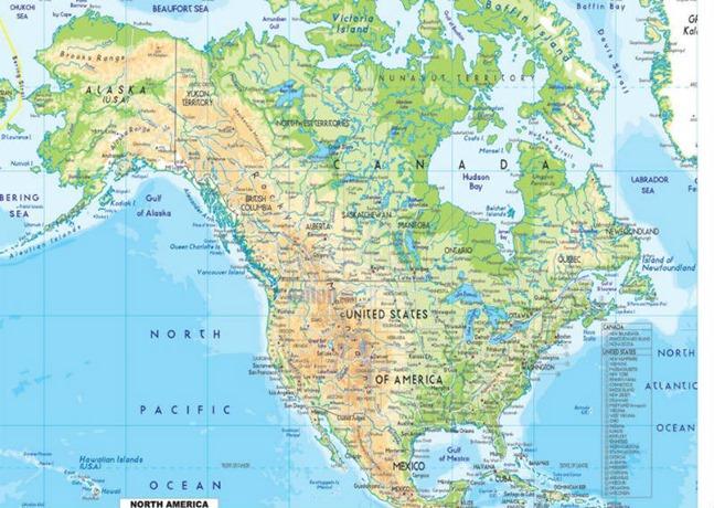 mapa fisico América del norte