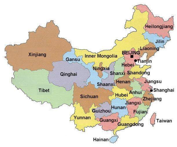 Fuerzas armadas de la República Popular China China-mapa
