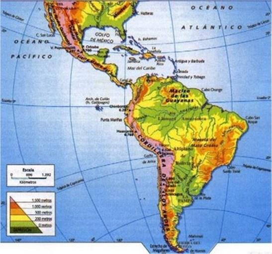 Mapa físico de América