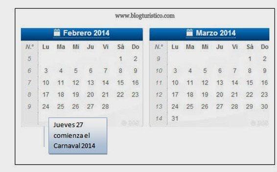 fechas carnavales 2014